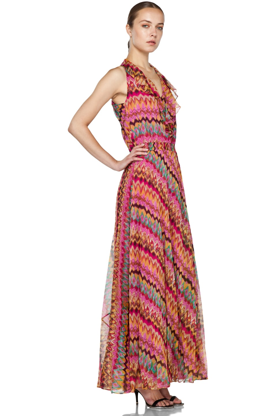 Image 3 of Haute Hippie Printed Ruffle Maxi Dress in Lilac Multi