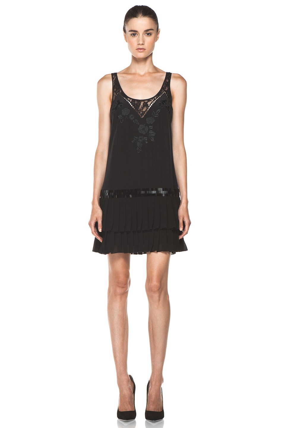 Image 1 of Haute Hippie Pleated Skirt Dress in Black