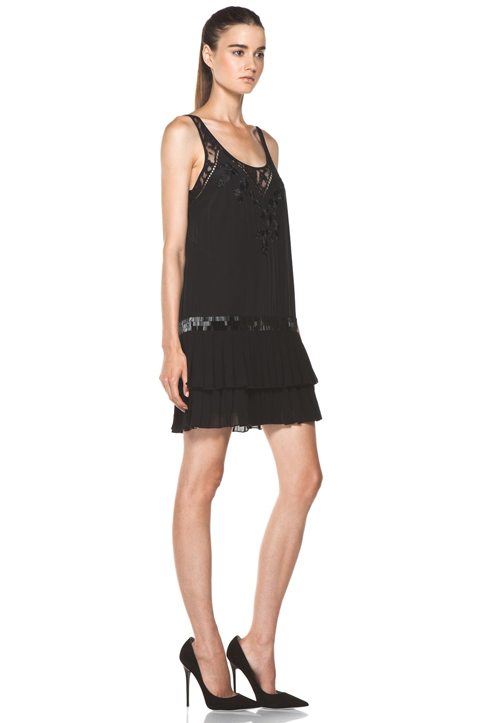 Image 3 of Haute Hippie Pleated Skirt Dress in Black