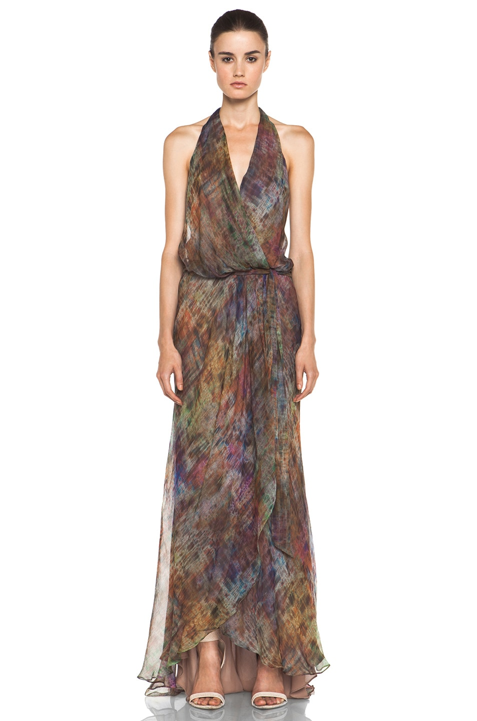 Image 1 of Haute Hippie Halter Gown with Cascading Ruffle in Mutely