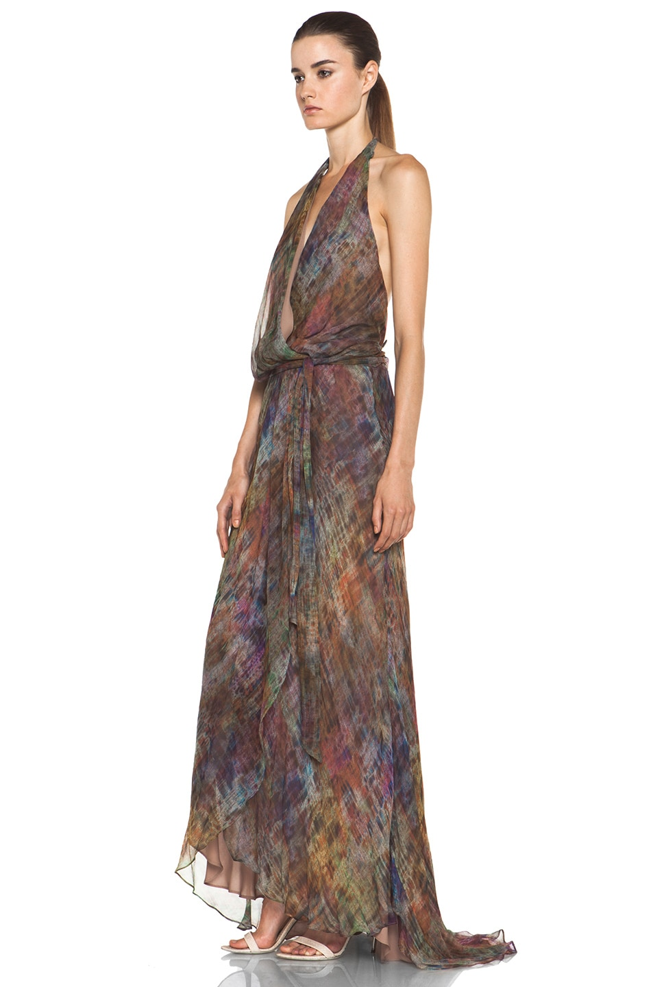 Image 2 of Haute Hippie Halter Gown with Cascading Ruffle in Mutely