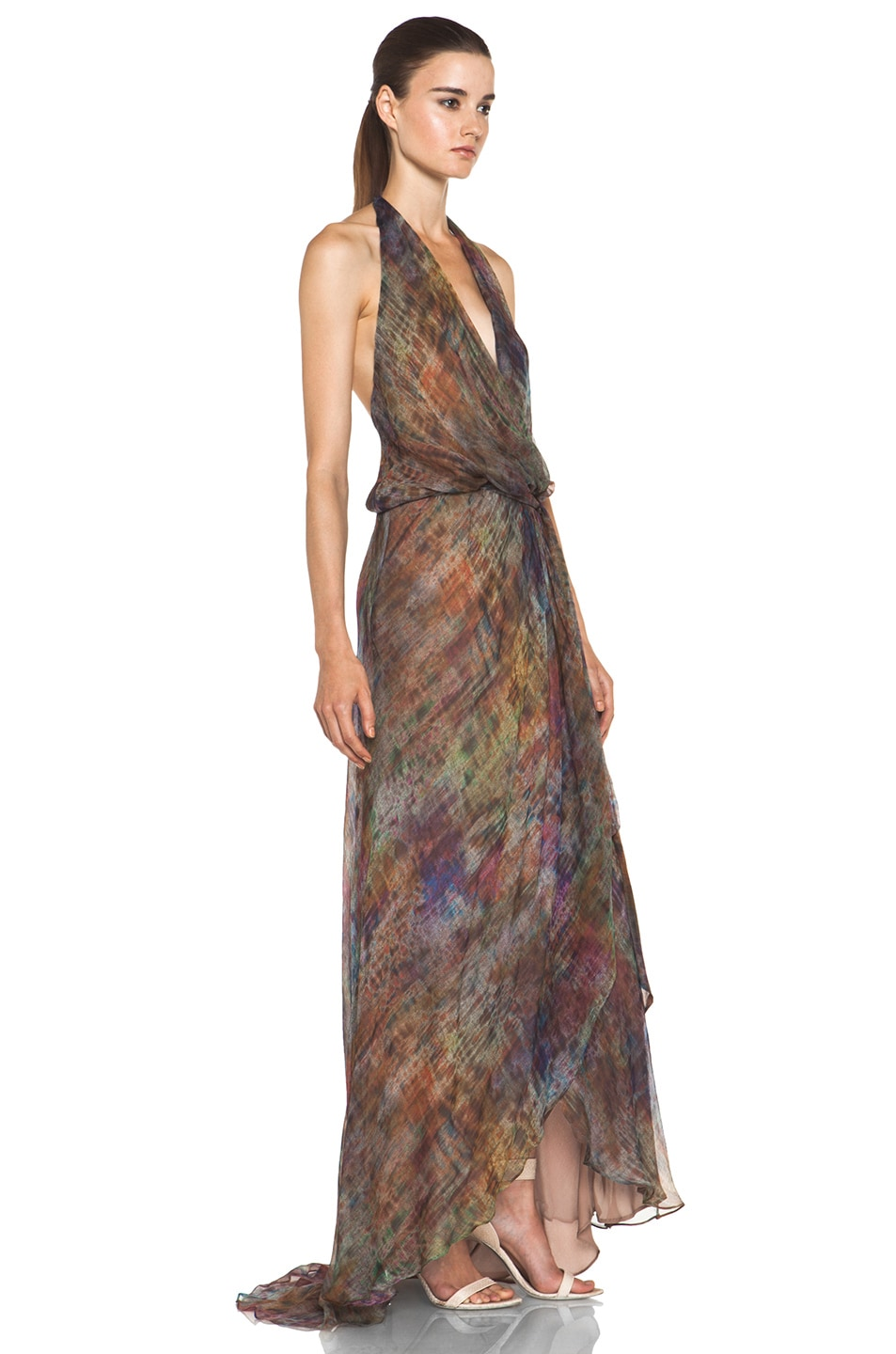 Image 3 of Haute Hippie Halter Gown with Cascading Ruffle in Mutely
