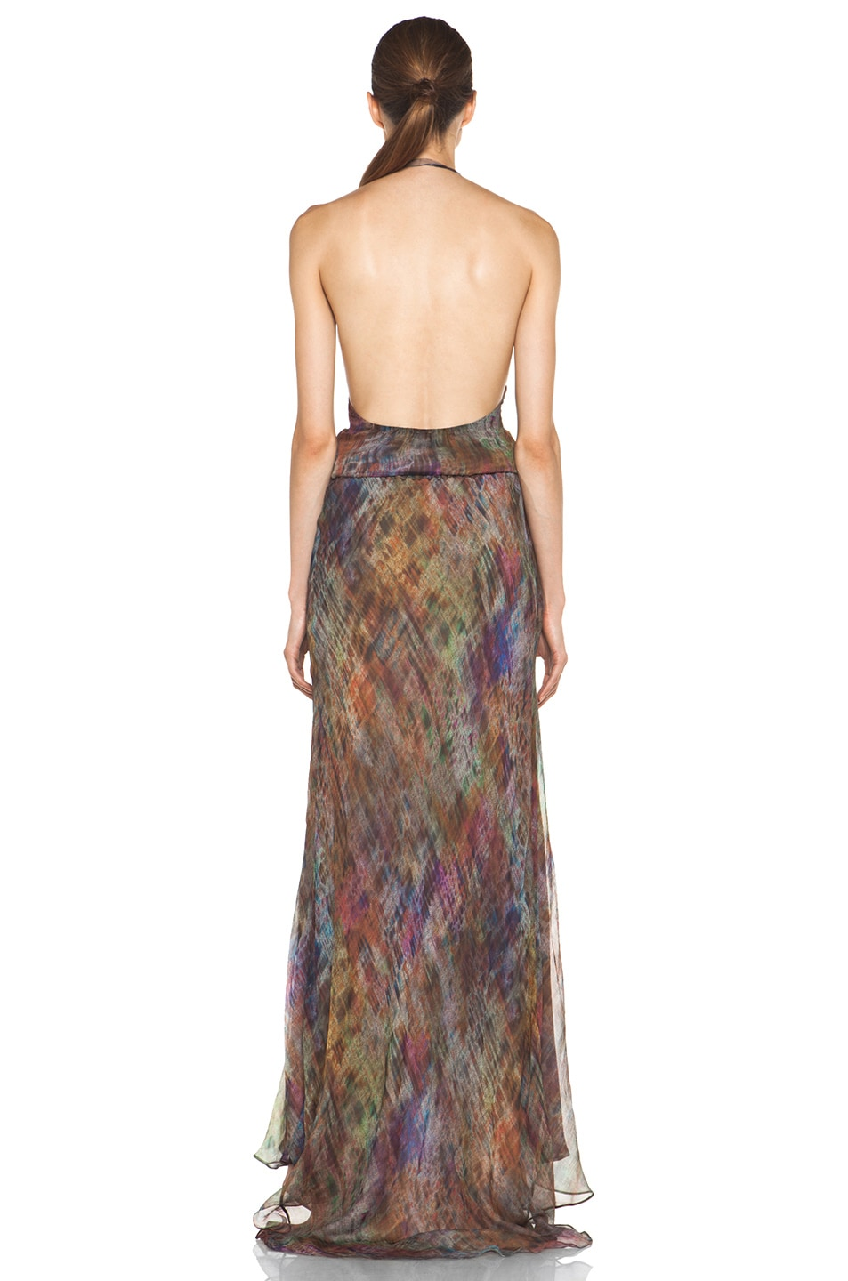 Image 4 of Haute Hippie Halter Gown with Cascading Ruffle in Mutely