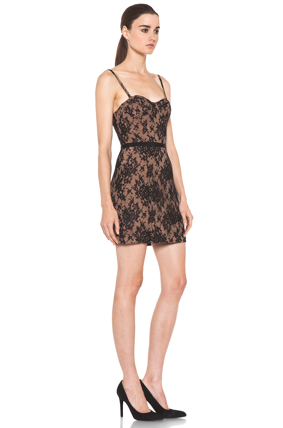 Image 3 of Haute Hippie Lace Corset Dress in Black