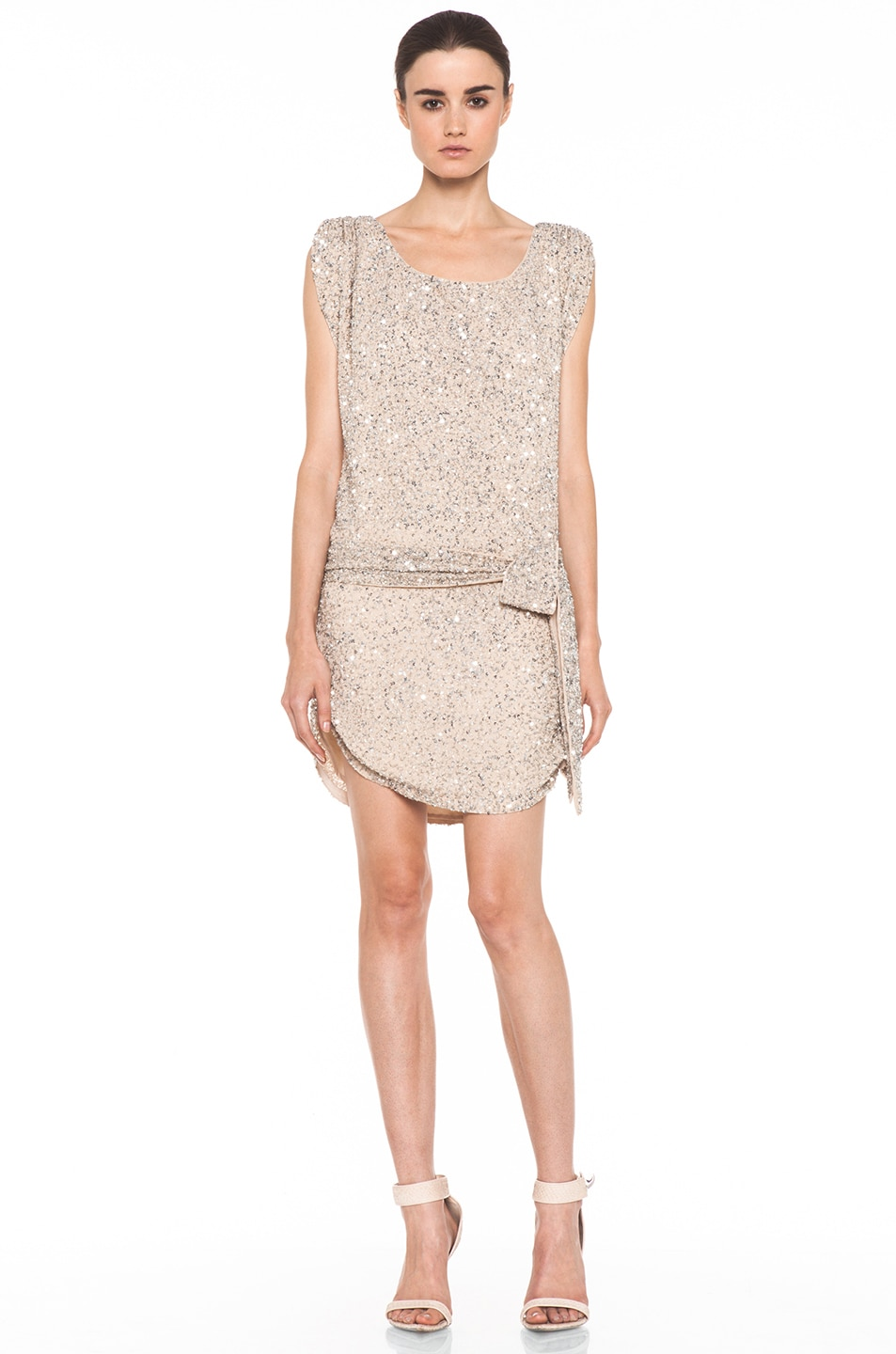 Image 1 of Haute Hippie Silk Junk Sequin Cowl Tank Dress in Buff