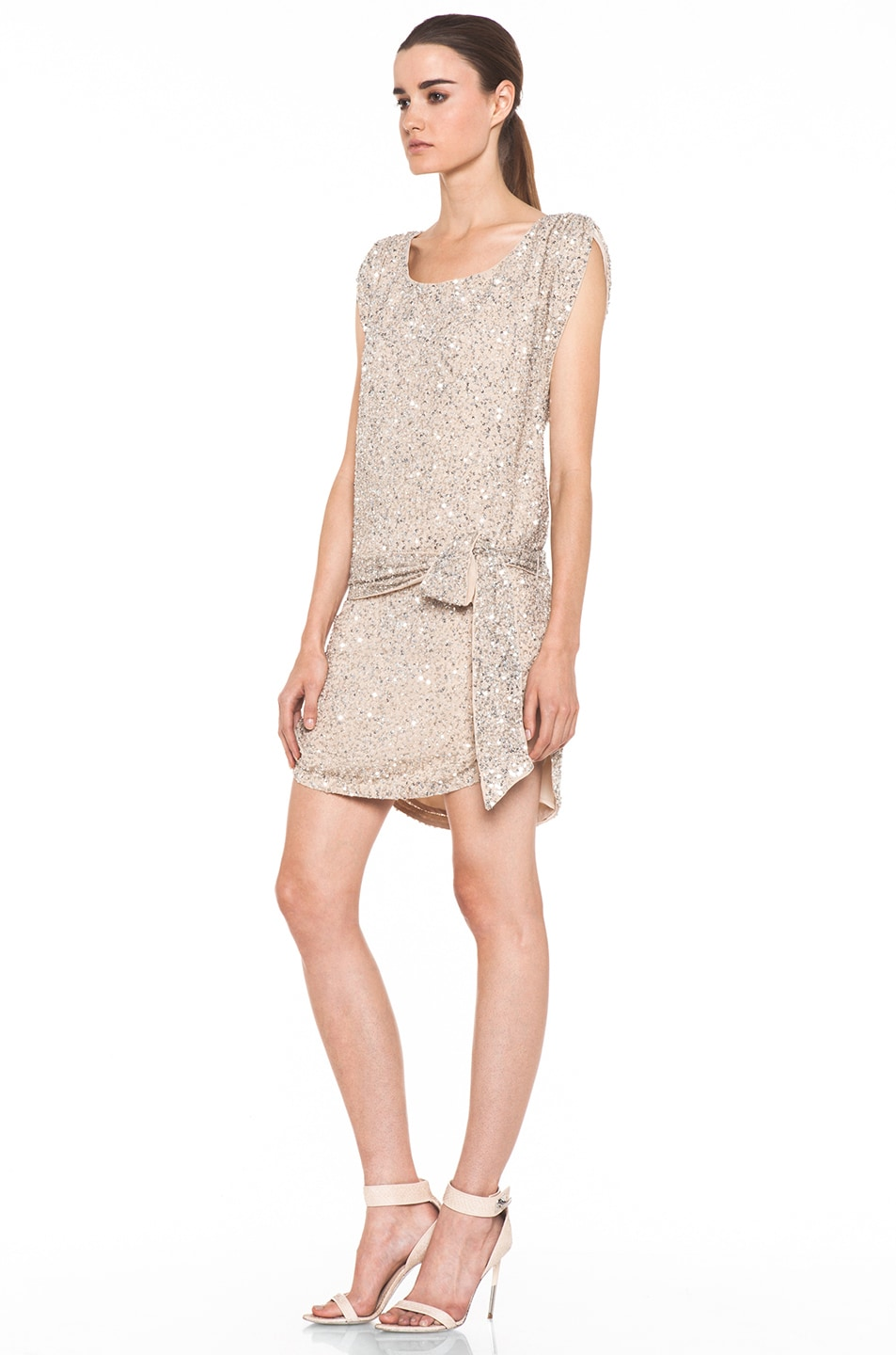 Image 2 of Haute Hippie Silk Junk Sequin Cowl Tank Dress in Buff
