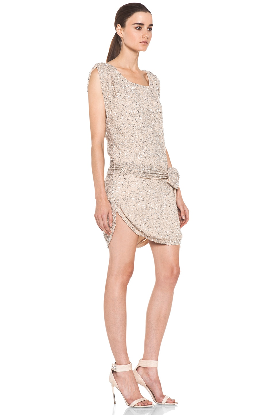 Image 3 of Haute Hippie Silk Junk Sequin Cowl Tank Dress in Buff