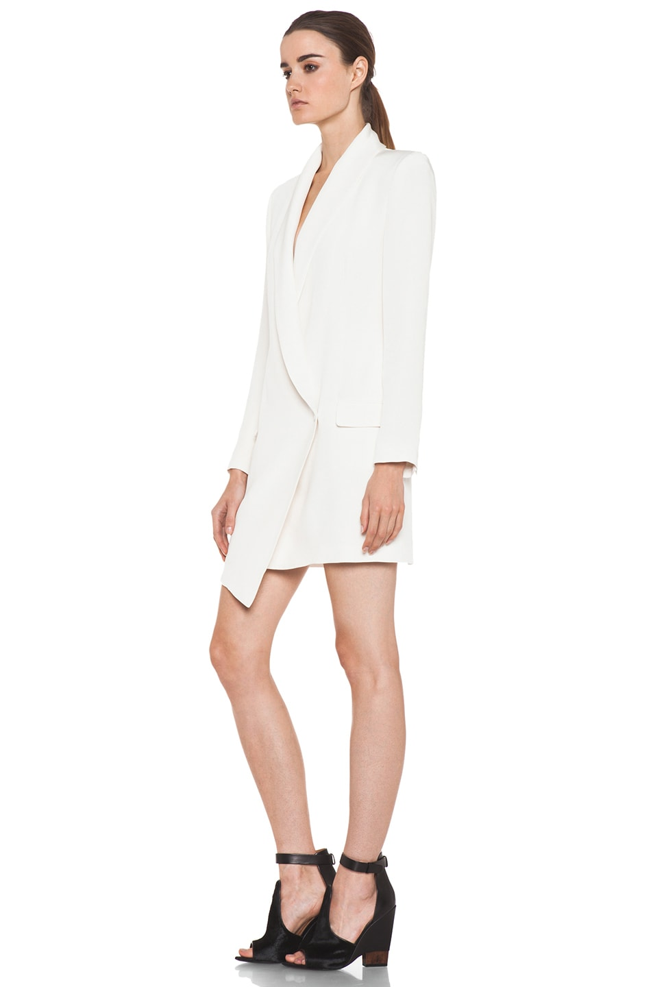 Image 2 of Haute Hippie Extra Long Blazer Dress in Ivory