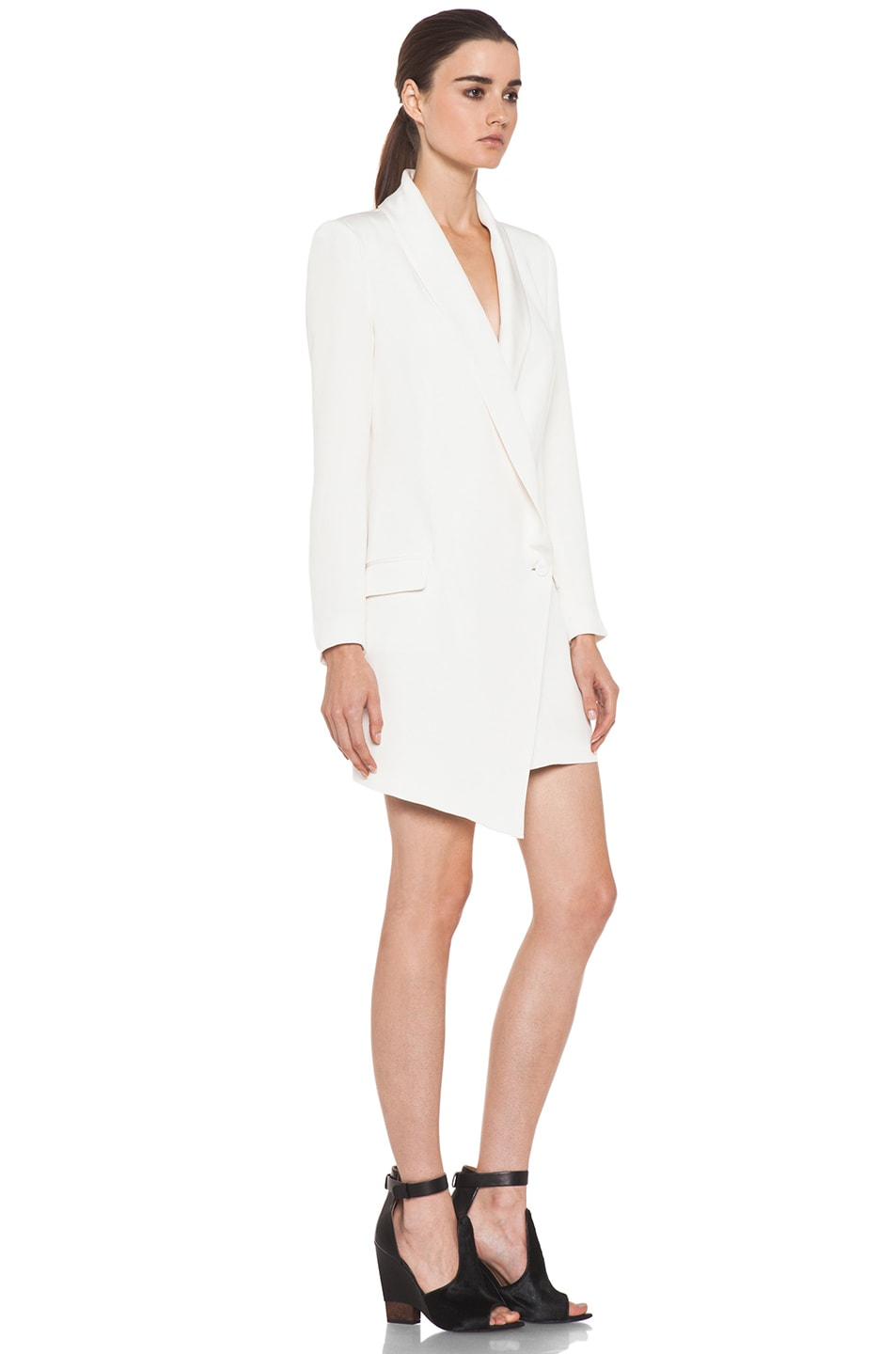 Image 3 of Haute Hippie Extra Long Blazer Dress in Ivory