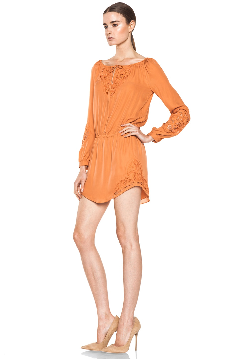 Image 2 of Haute Hippie Embroidered Dress in Sunset