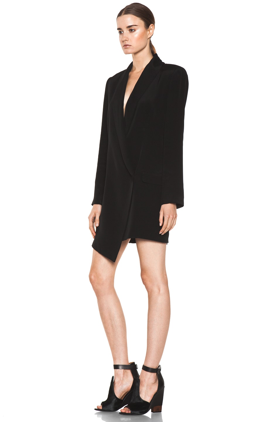 Image 2 of Haute Hippie Extra Long Blazer Dress in Black