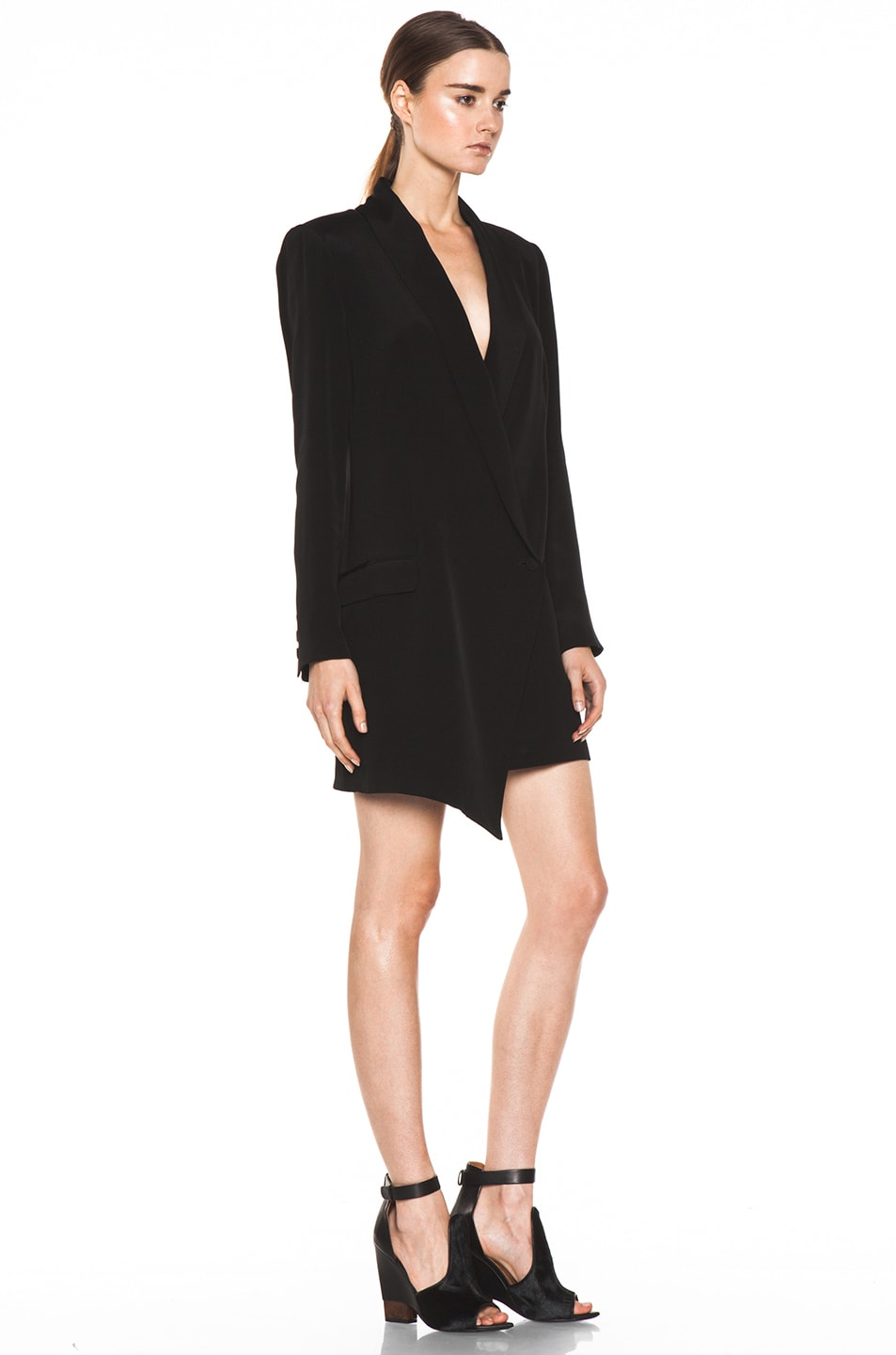Image 3 of Haute Hippie Extra Long Blazer Dress in Black