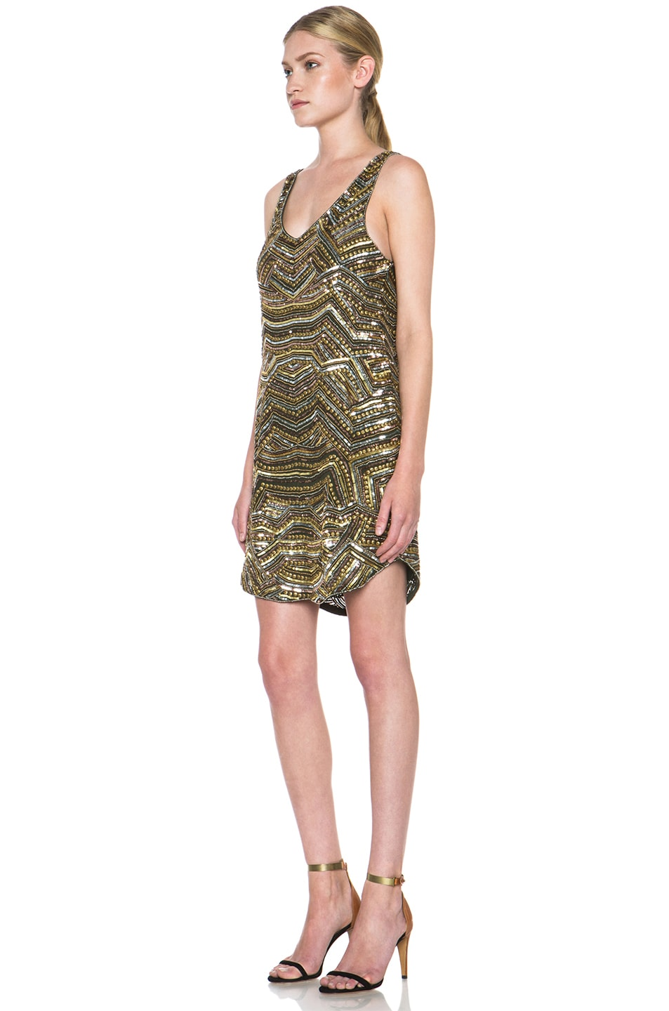 Image 2 of Haute Hippie Embellished Silk Mini Dress in Military & Gold