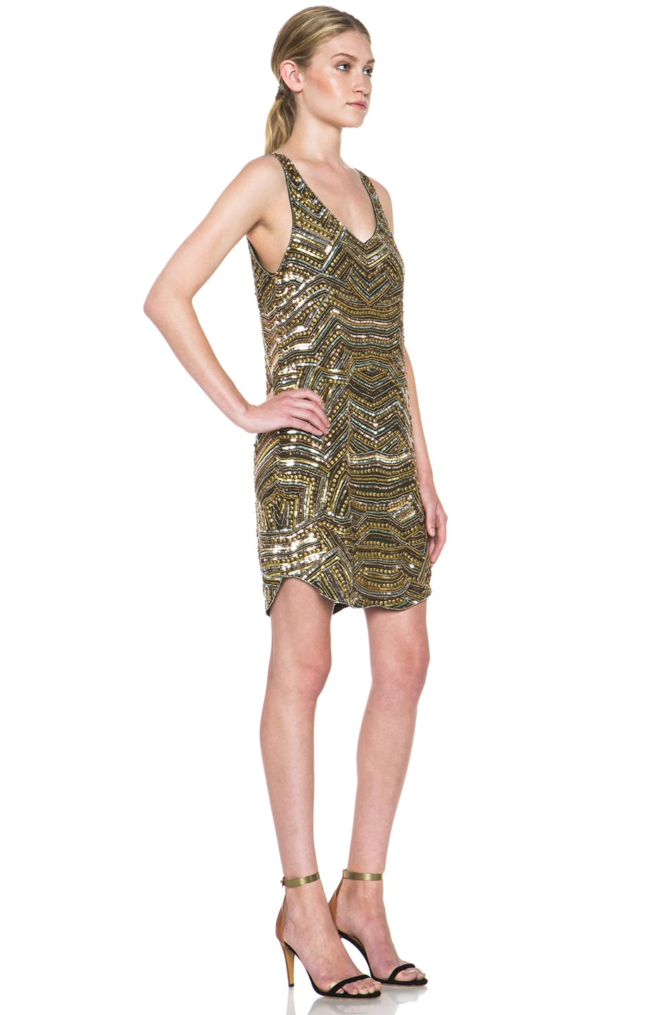 Image 3 of Haute Hippie Embellished Silk Mini Dress in Military & Gold