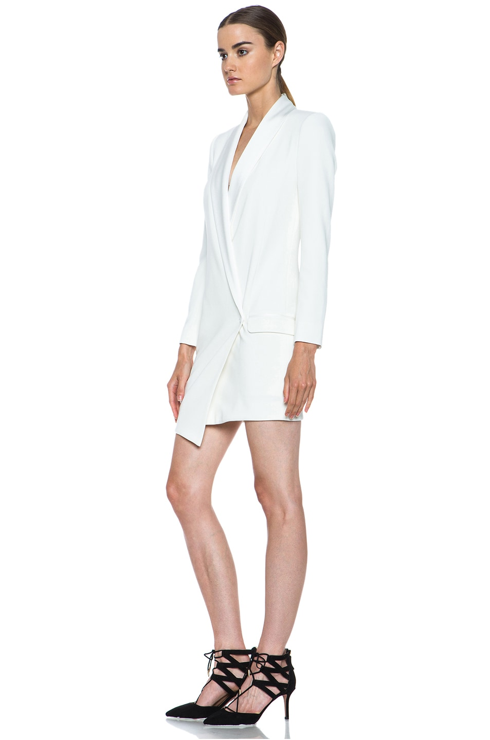 Image 2 of Haute Hippie Oversized Asymmetrical Triacetate-Blend Blazer in Antique Ivory
