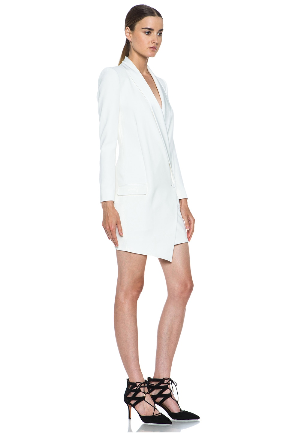 Image 3 of Haute Hippie Oversized Asymmetrical Triacetate-Blend Blazer in Antique Ivory