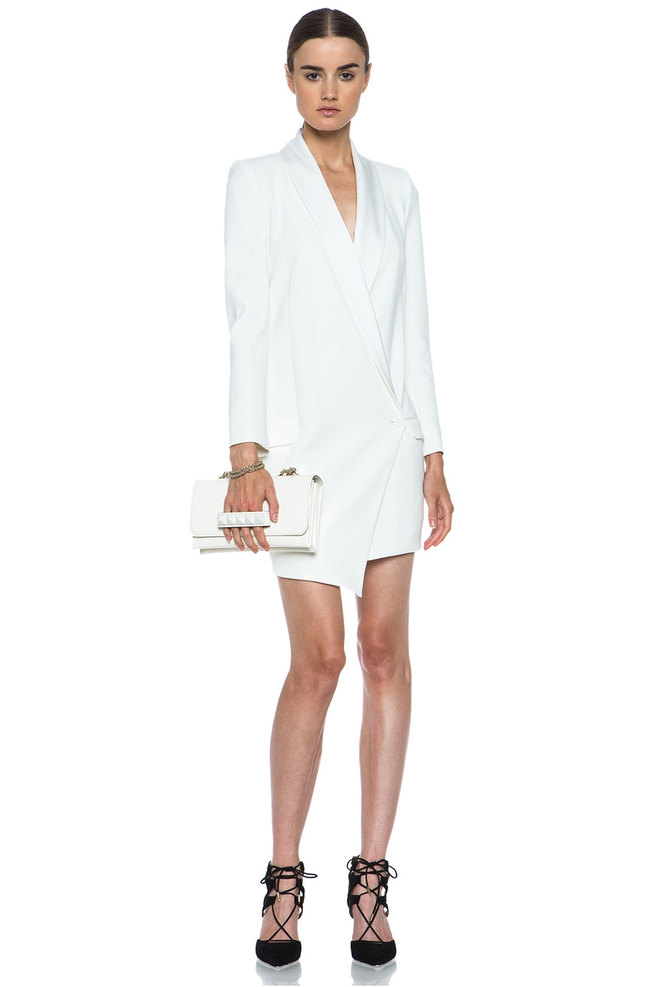 Image 5 of Haute Hippie Oversized Asymmetrical Triacetate-Blend Blazer in Antique Ivory