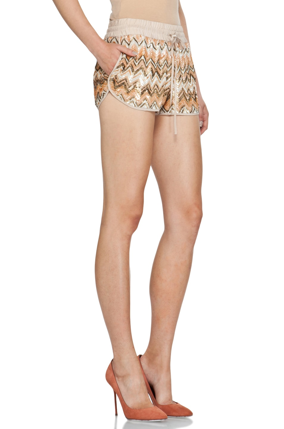 Image 3 of Haute Hippie Chevron Sequin Shorts in Buff Multi