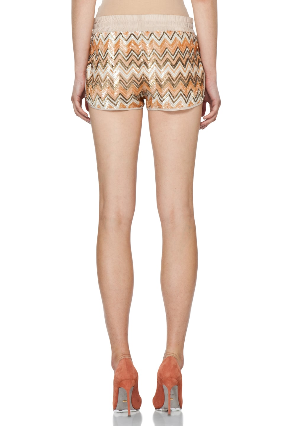 Image 4 of Haute Hippie Chevron Sequin Shorts in Buff Multi