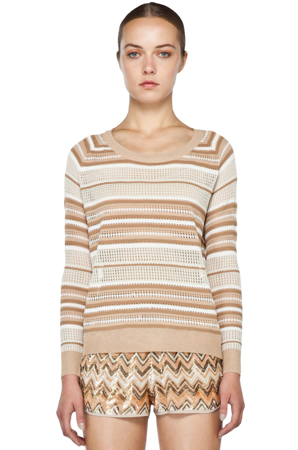 Image 1 of Haute Hippie Pullover Pointelle Sweater in Buff