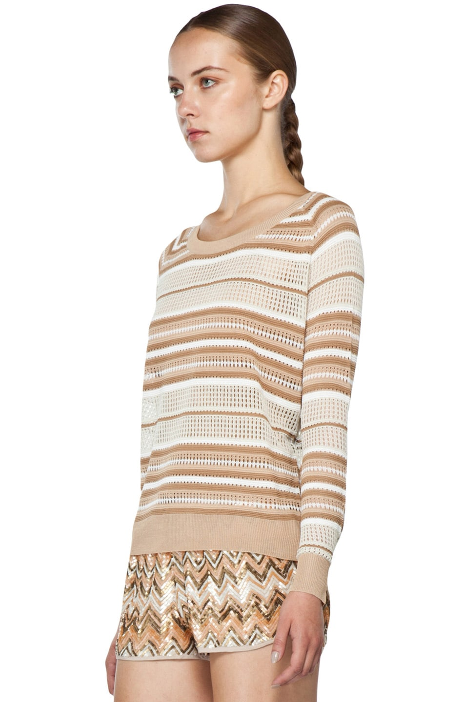 Image 2 of Haute Hippie Pullover Pointelle Sweater in Buff