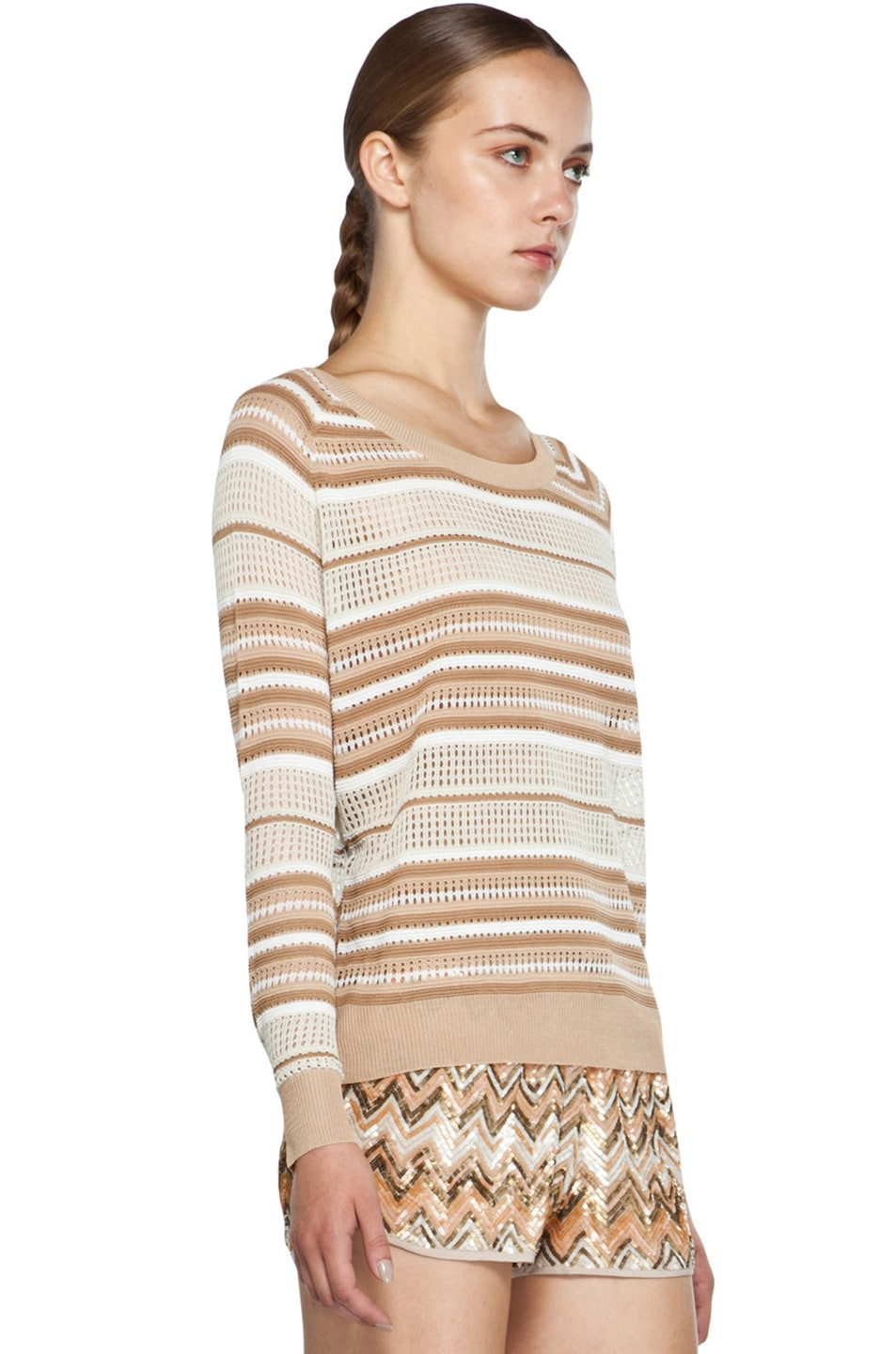 Image 3 of Haute Hippie Pullover Pointelle Sweater in Buff