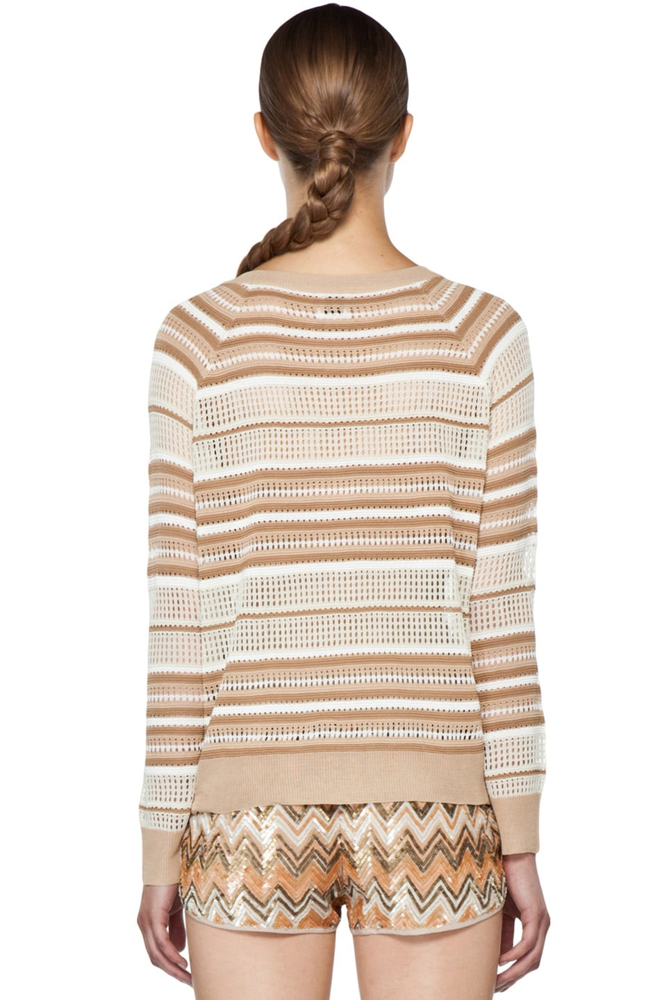 Image 4 of Haute Hippie Pullover Pointelle Sweater in Buff