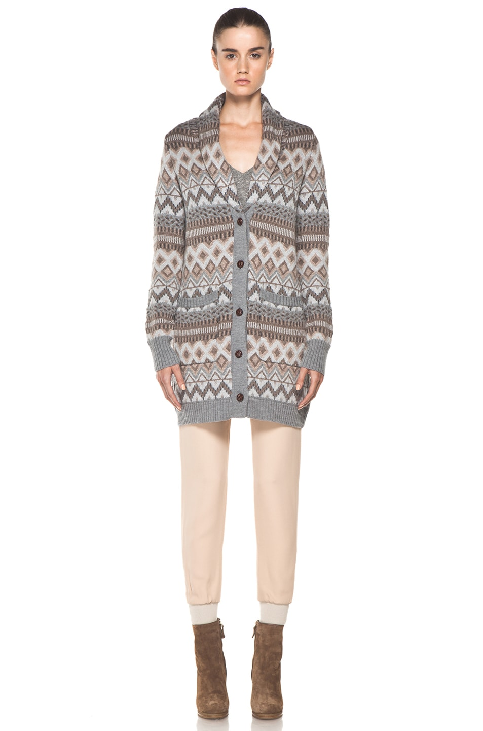 Image 2 of Haute Hippie Fair Isle Sweater Coat in Granite Multi