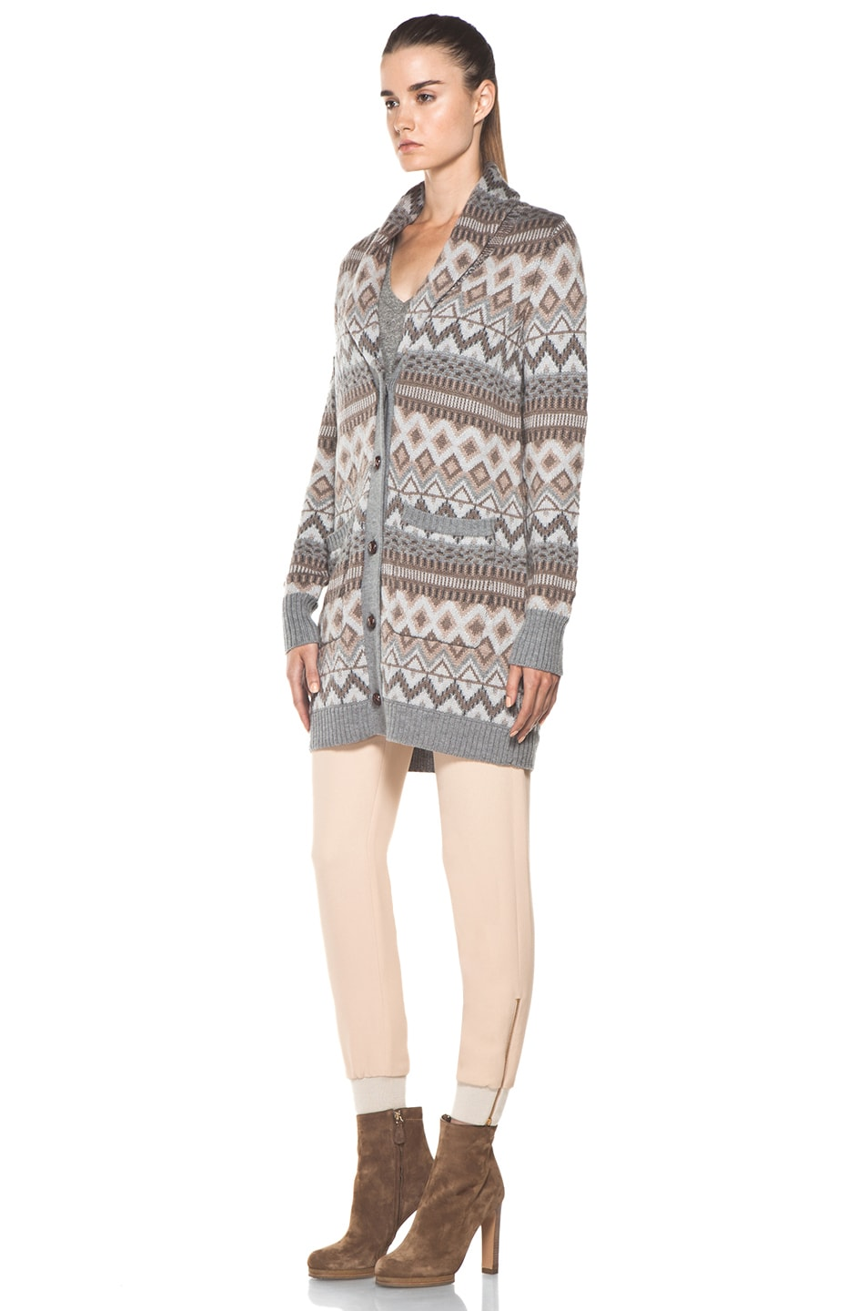 Image 3 of Haute Hippie Fair Isle Sweater Coat in Granite Multi