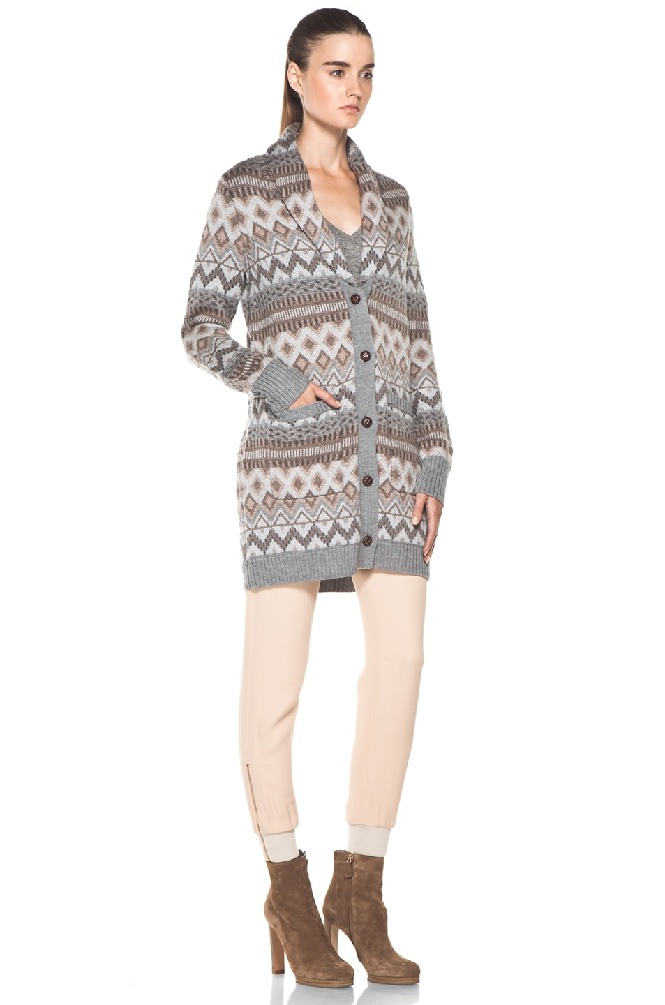 Image 4 of Haute Hippie Fair Isle Sweater Coat in Granite Multi