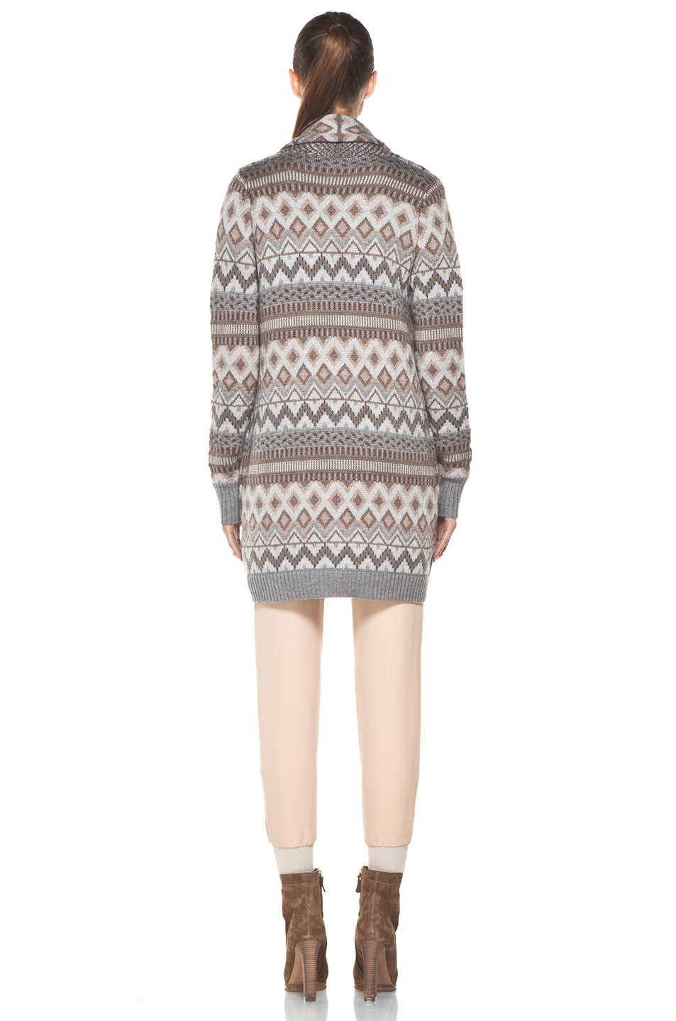 Image 5 of Haute Hippie Fair Isle Sweater Coat in Granite Multi