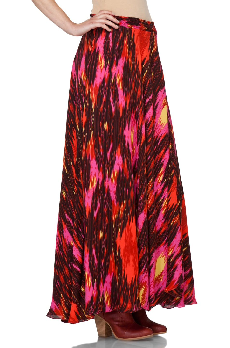 Image 3 of Haute Hippie Ikat Cinched Waist Skirt in Multi
