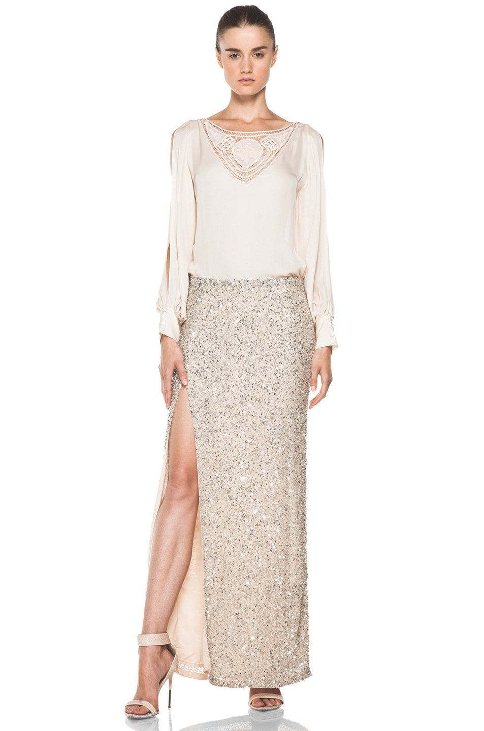 Image 5 of Haute Hippie Beaded Skirt with Long Slit in Sheer
