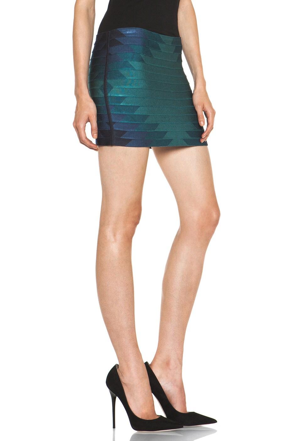 Image 3 of Haute Hippie Aztec Bondage Mini Skirt in Coastal Multi