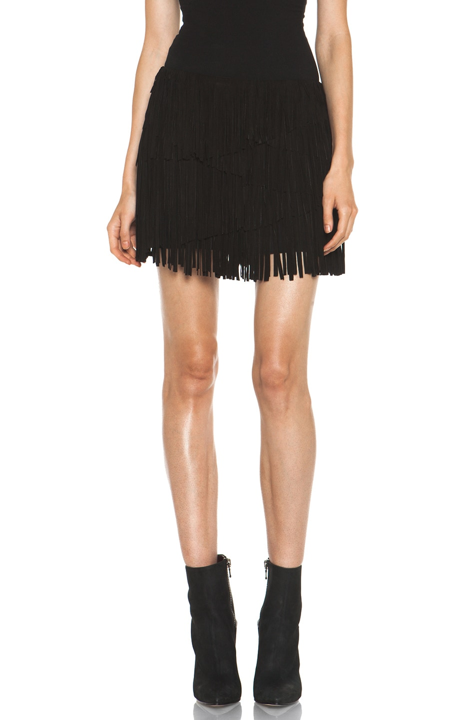 Image 1 of Haute Hippie Suede Asymmetrical Tiered Skirt in Black