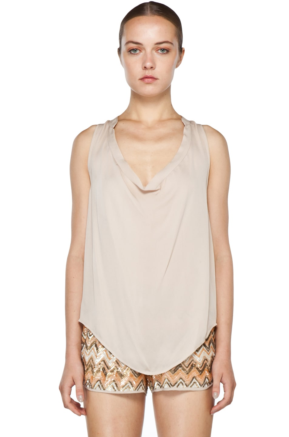 Image 2 of Haute Hippie Cowl Tank in Buff