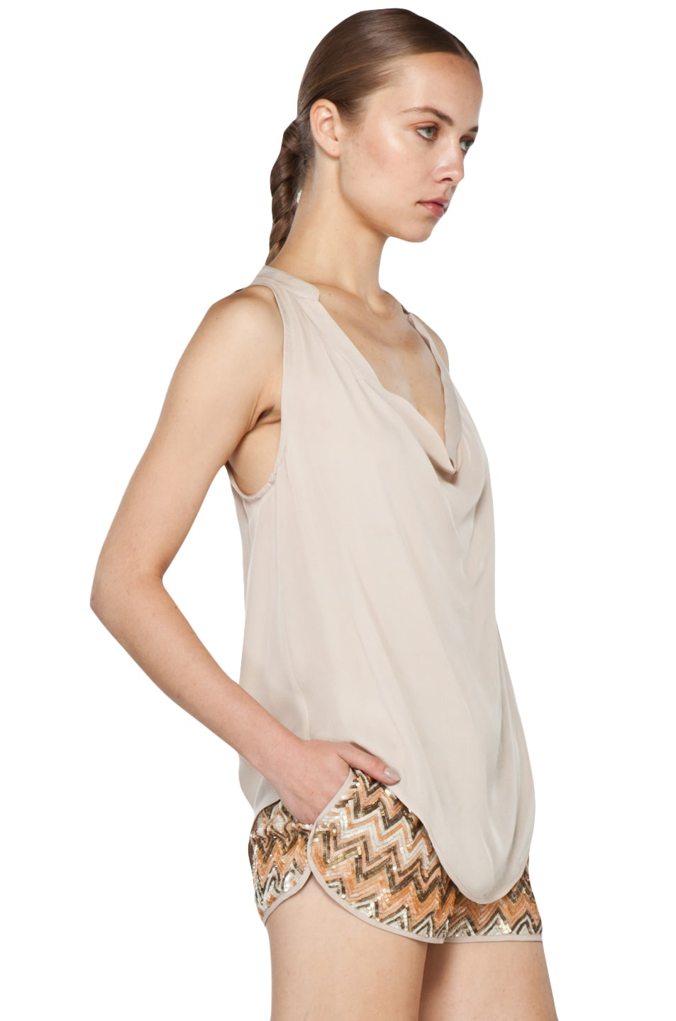 Image 4 of Haute Hippie Cowl Tank in Buff