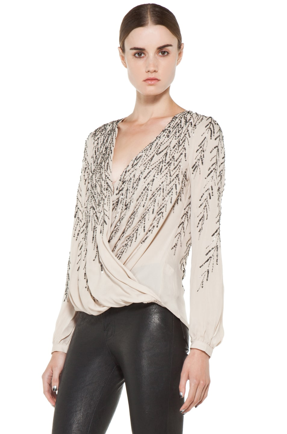 Image 2 of Haute Hippie Feather Embellishment Blouse in Sheer