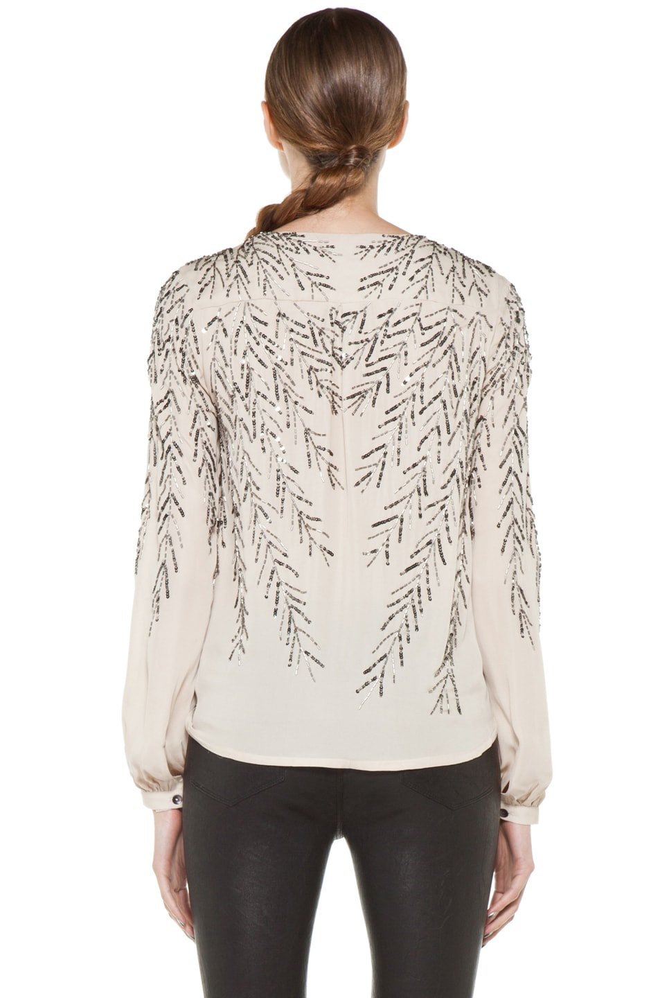 Image 4 of Haute Hippie Feather Embellishment Blouse in Sheer