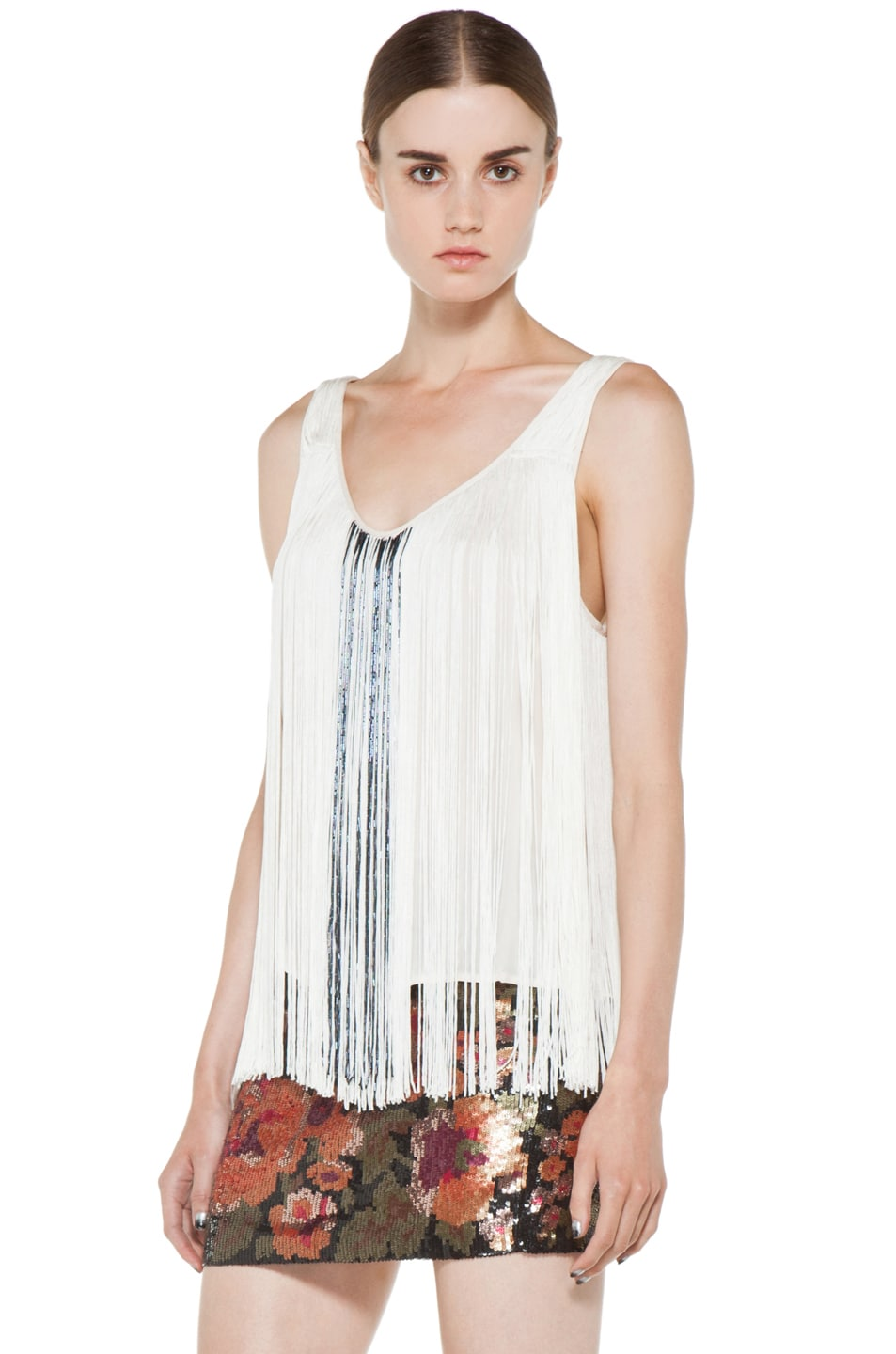 Image 2 of Haute Hippie Fringe and Bugle Tank in Swan