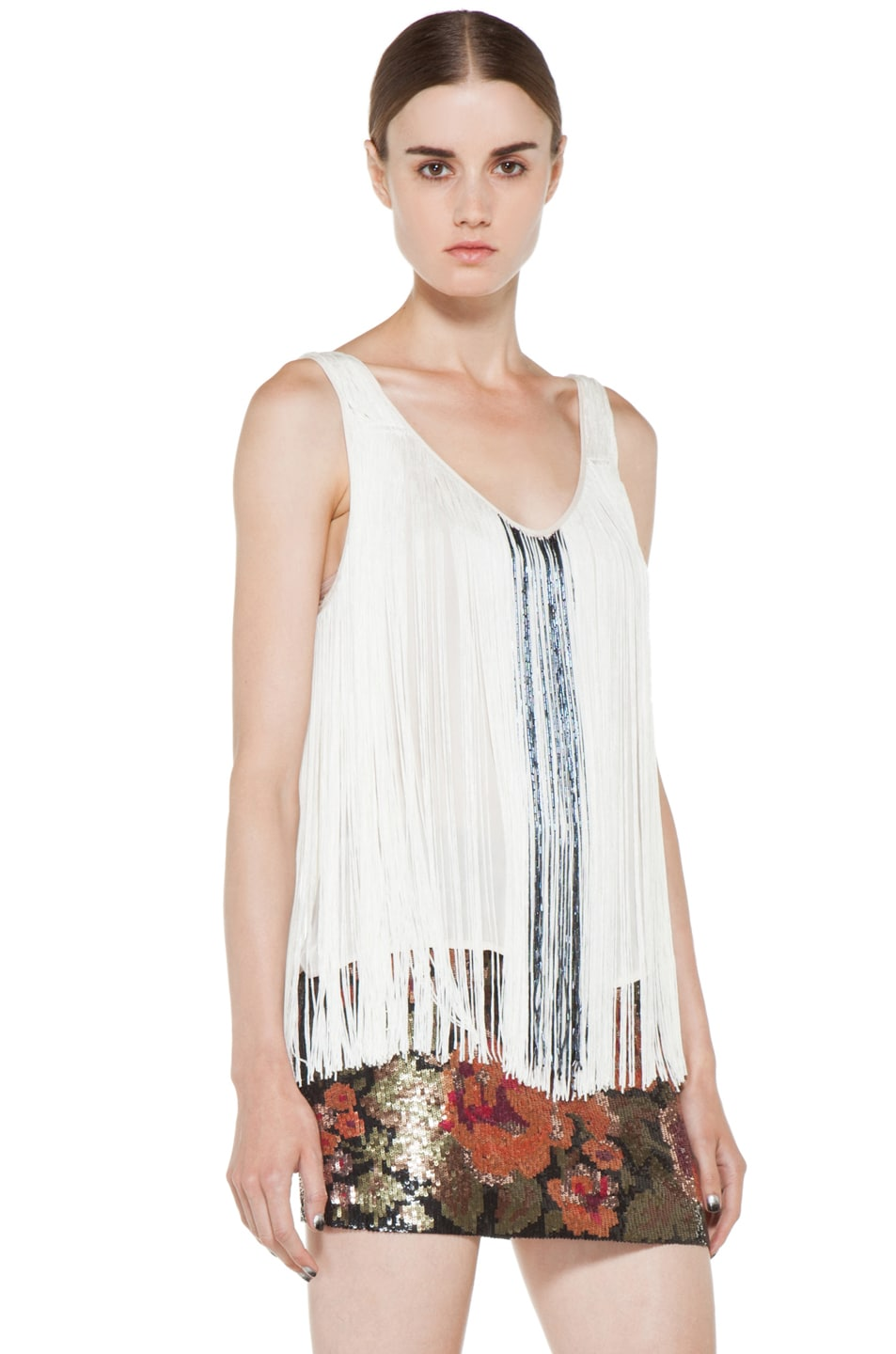 Image 3 of Haute Hippie Fringe and Bugle Tank in Swan