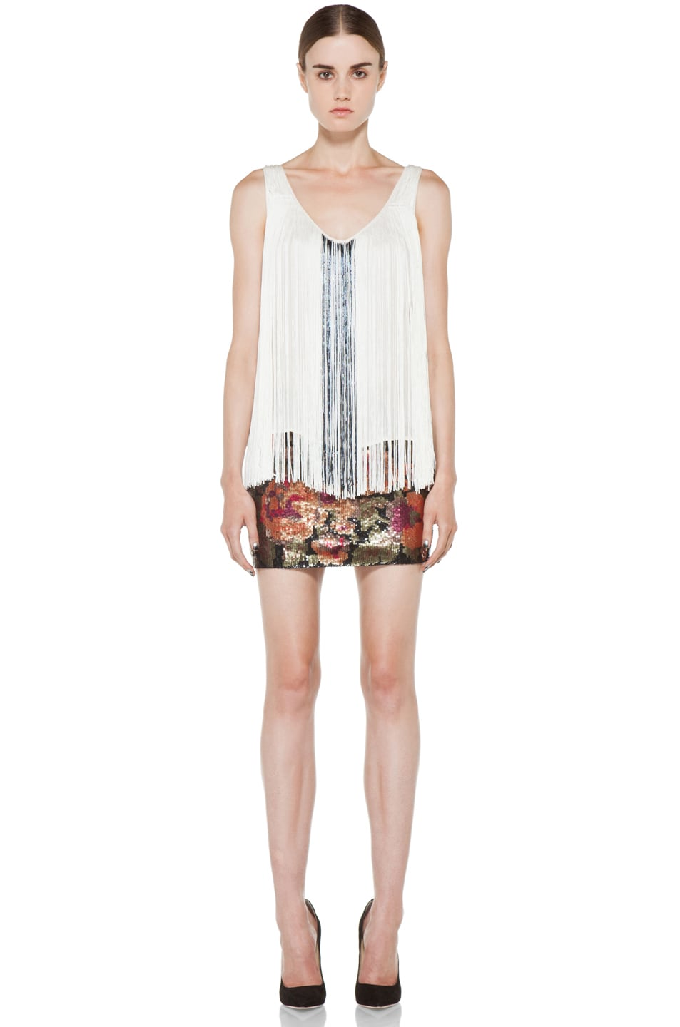 Image 5 of Haute Hippie Fringe and Bugle Tank in Swan