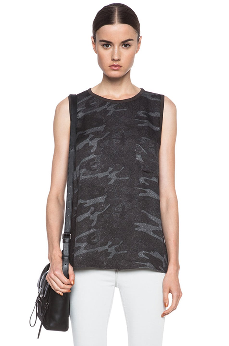 Image 1 of Haute Hippie Viscose Muscle Tee in Camo Multi
