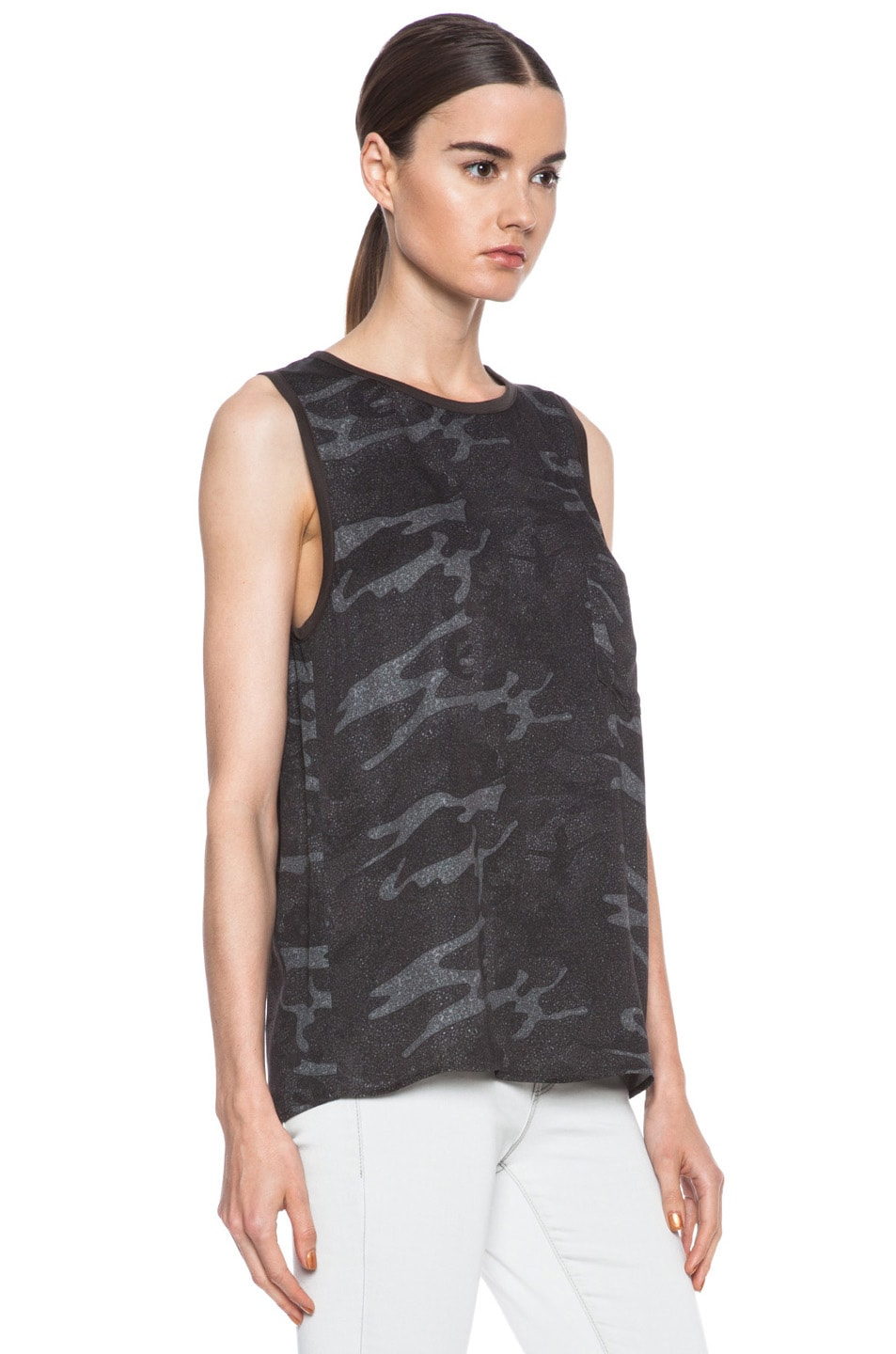 Image 3 of Haute Hippie Viscose Muscle Tee in Camo Multi