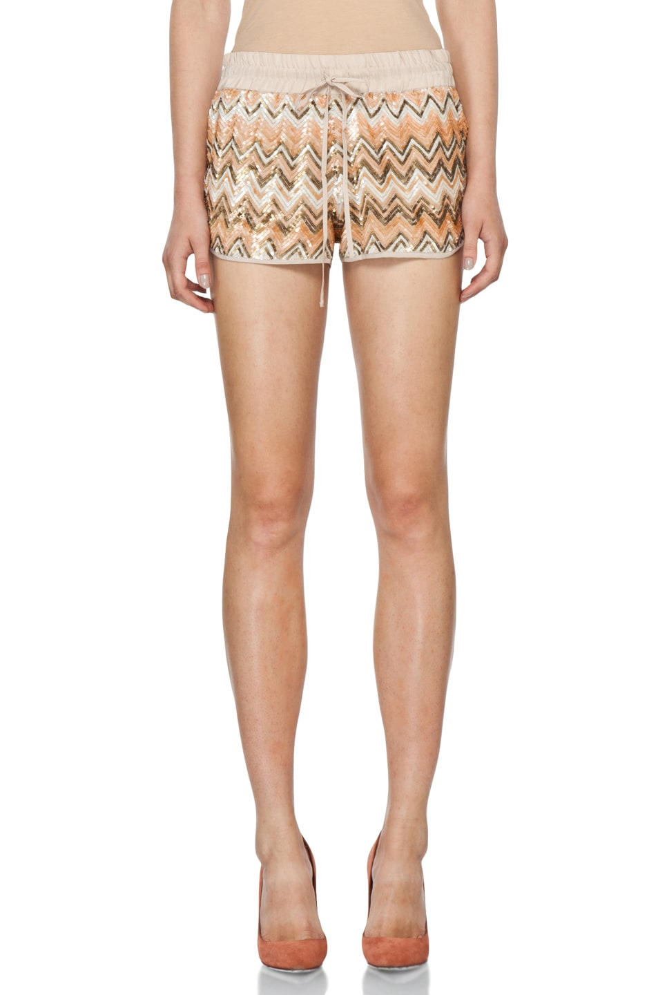 Image 1 of Haute Hippie Chevron Sequin Shorts in Buff Multi