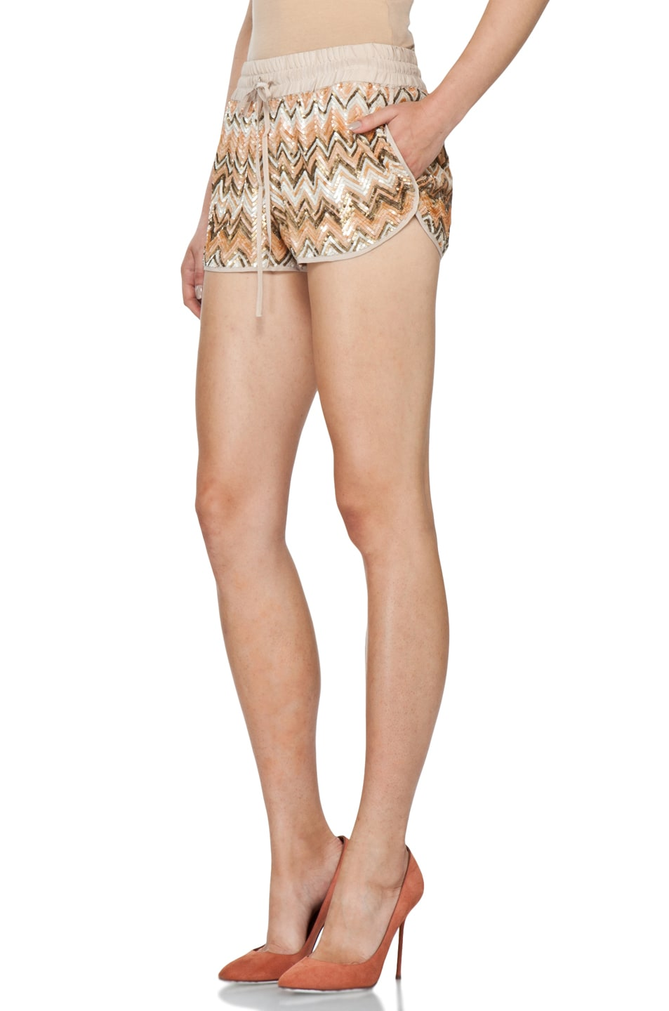 Image 2 of Haute Hippie Chevron Sequin Shorts in Buff Multi