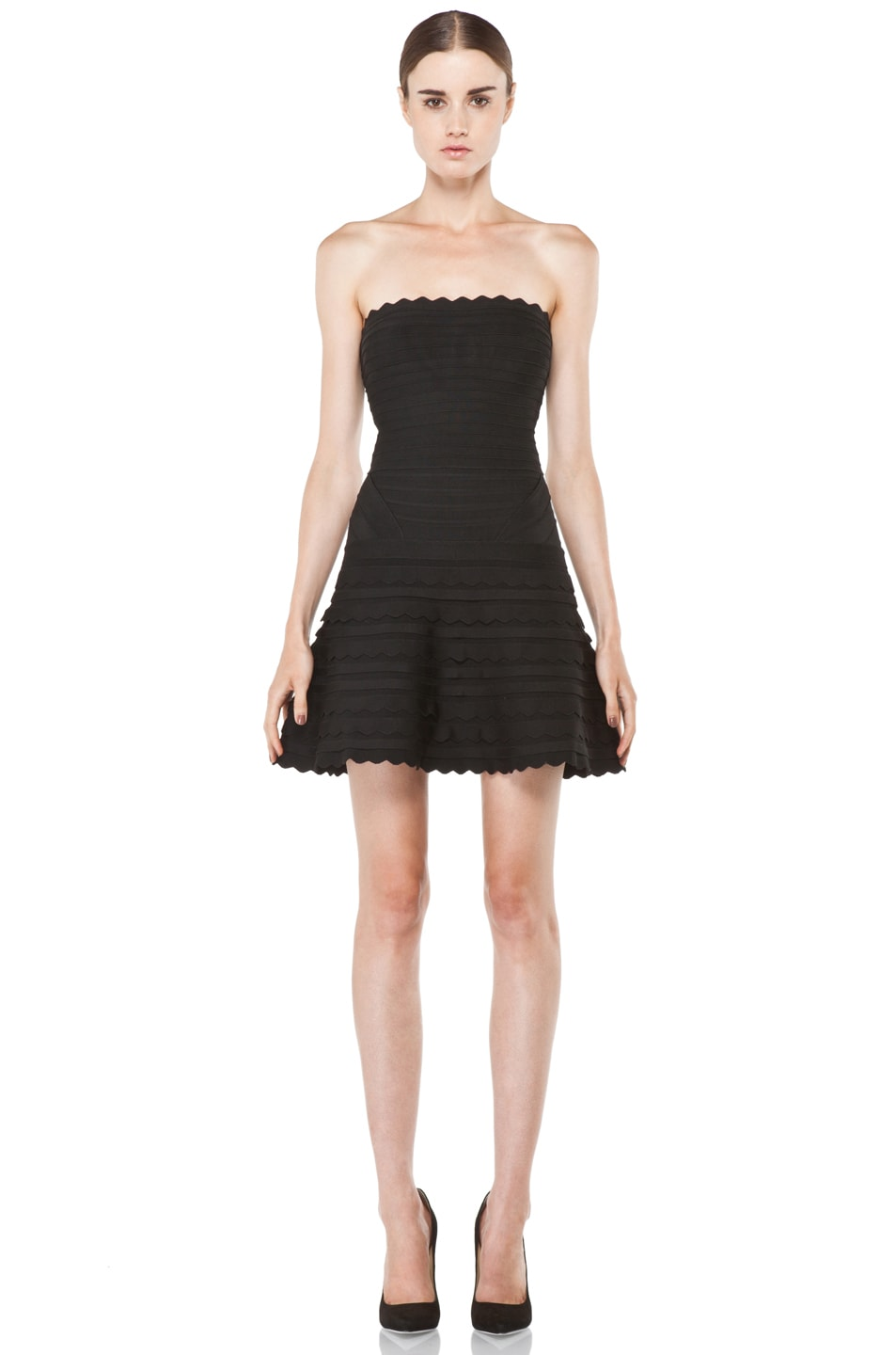 Image 1 of Herve Leger Scalloped Hem Strapless Dress in Black