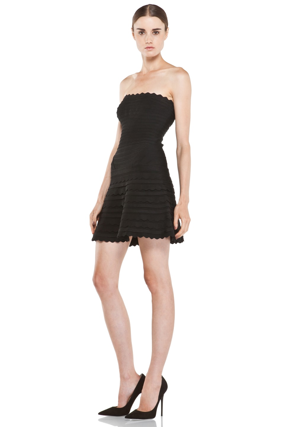 Image 2 of Herve Leger Scalloped Hem Strapless Dress in Black