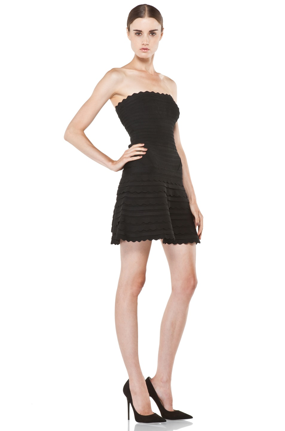 Image 3 of Herve Leger Scalloped Hem Strapless Dress in Black