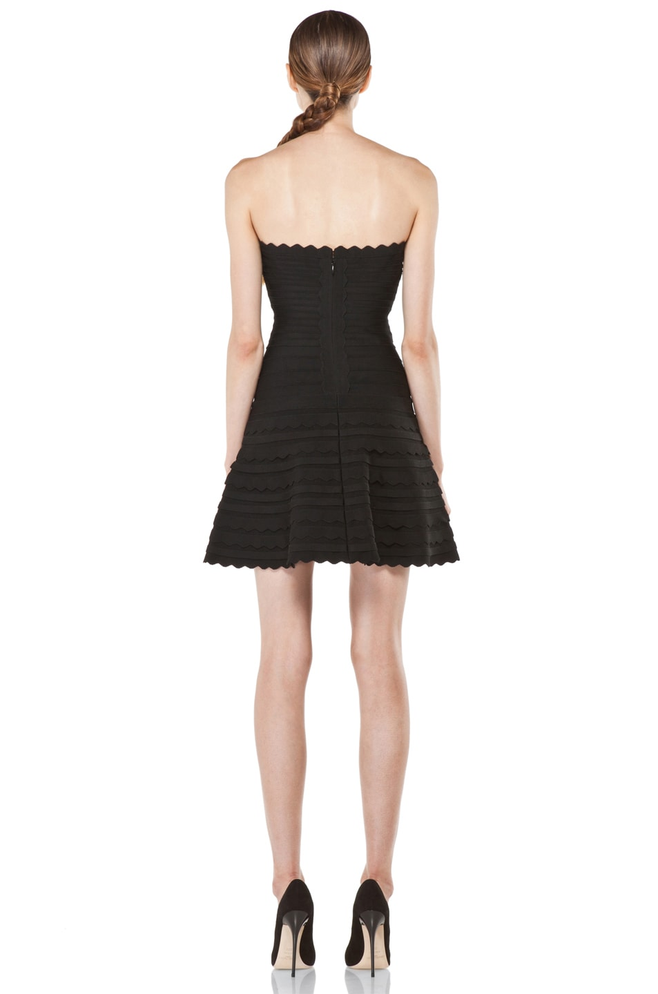 Image 4 of Herve Leger Scalloped Hem Strapless Dress in Black